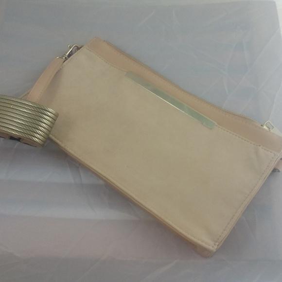 Aldo Handbags - ALDO Pastel Suede Clutch Purse w/Wristlet, Gold